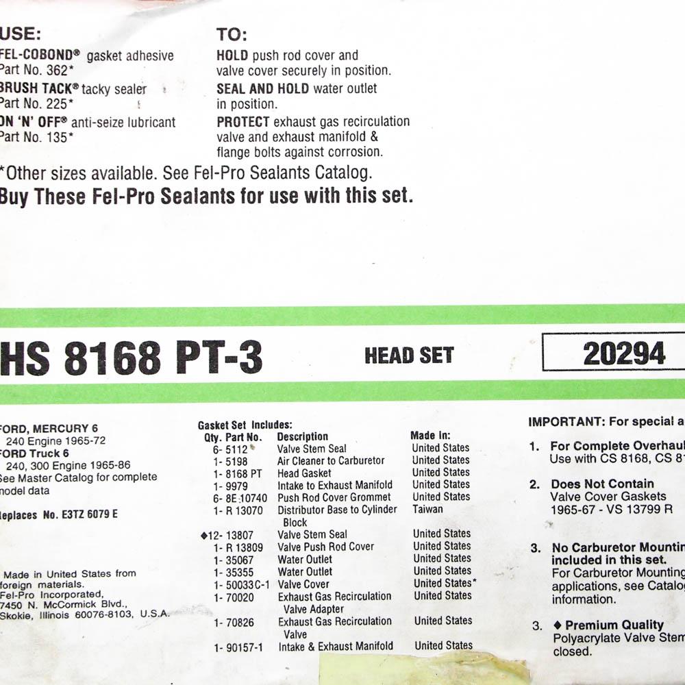 Fel-Pro HS 8168 PT-6 Cylinder Head Gasket Set