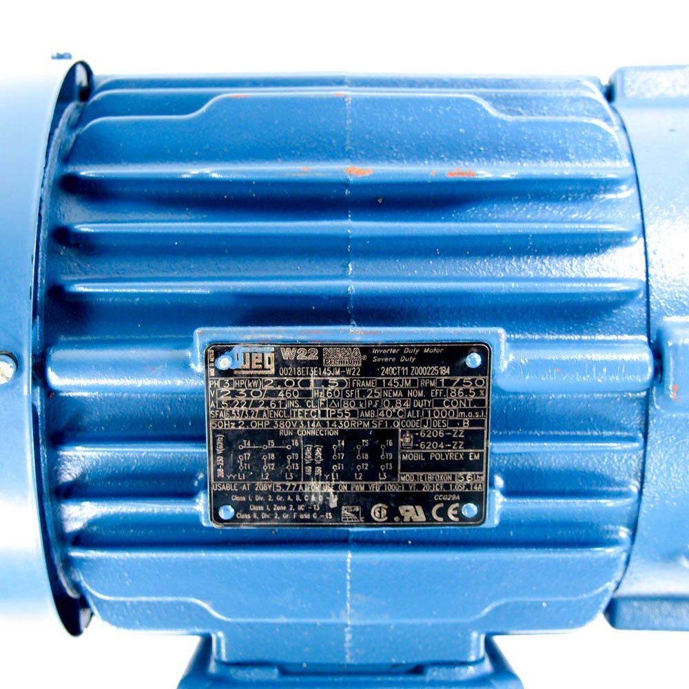 WEG 00218ET3E145JM-W22 2 HP Pump Motor 208-230/460V 3 Phase