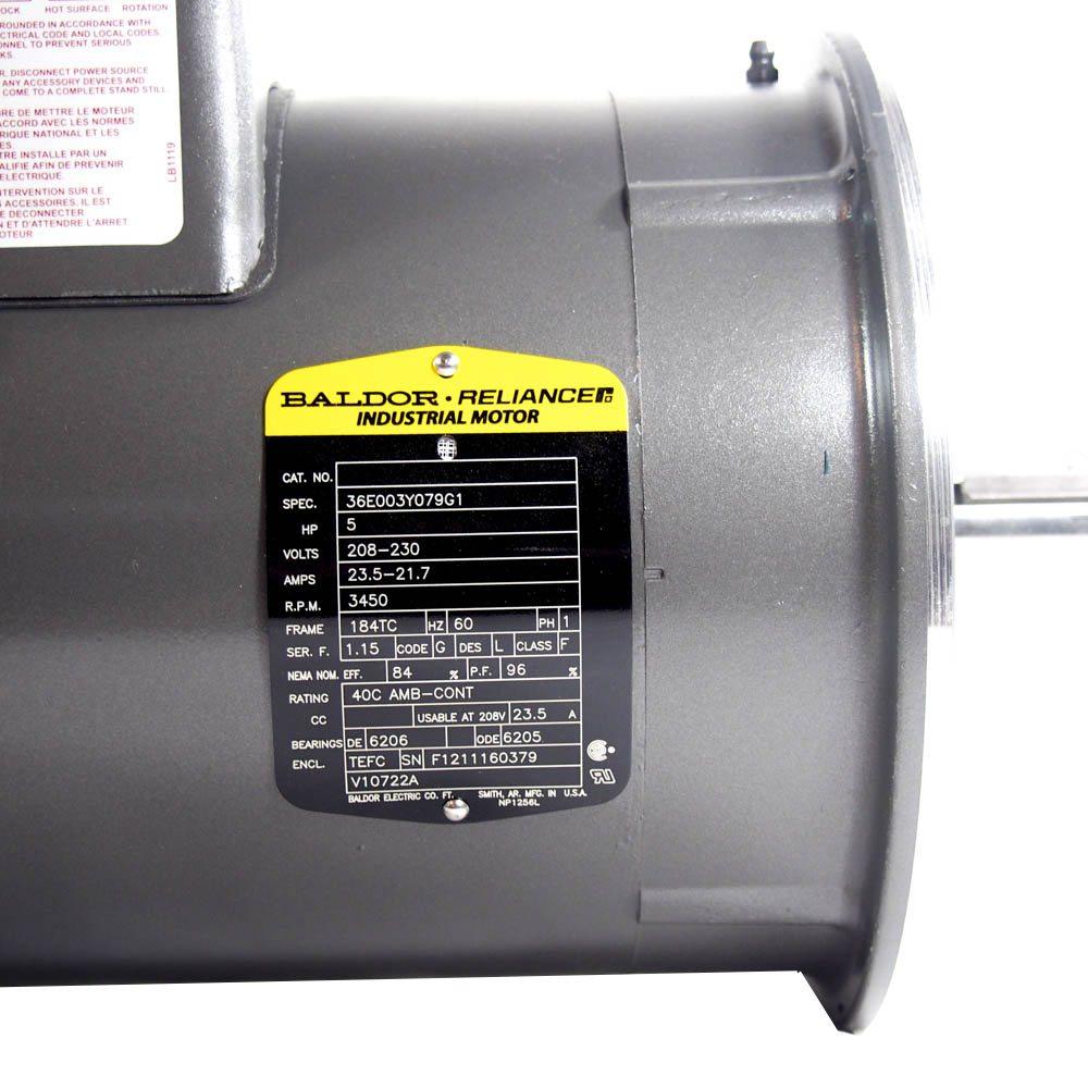 5 HP Single Phase Motor BALDOR 36E003Y079G1