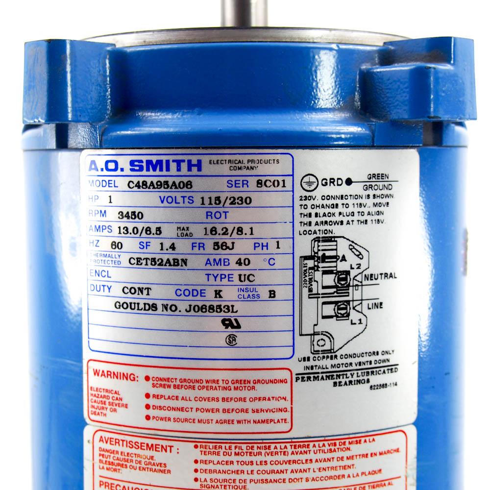 Goulds J06853L Pump Motor | 1 HP Single Phase 115/230V 3450 RPM